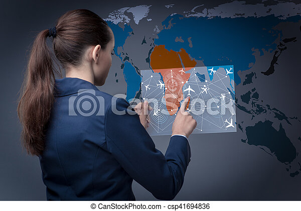 Air transportation concept with businesswoman - csp41694836