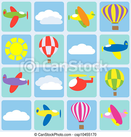 Air transportation. Seamless vector pattern - csp10455170