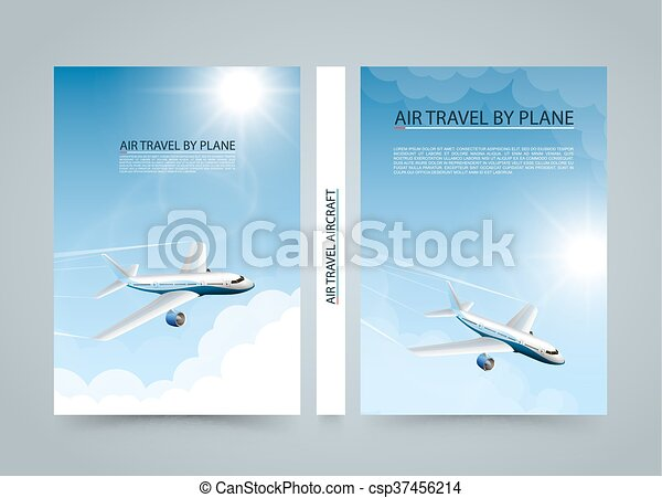 Air travel by plane, Modern airplane banners, Cover A4 size - csp37456214
