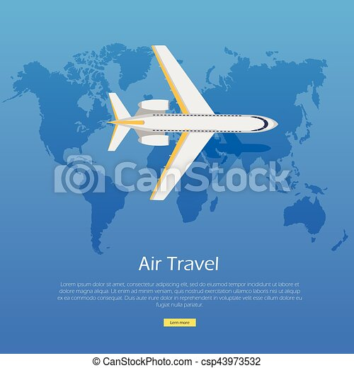 Air Travel Concept Plane On World Map Web Banner Air Travel