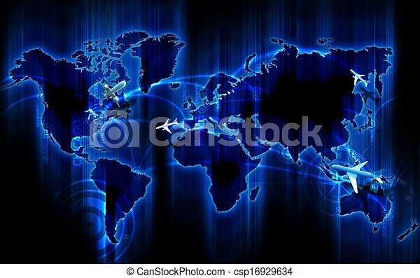 Air ways world wide cool glowing blue world map with air air ways world wide csp16929634 gumiabroncs Gallery