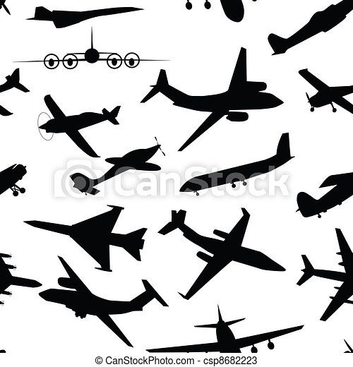 aircraft airplane plane flying vector seamless travel transport background