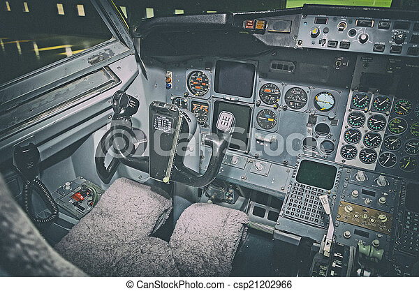 Aircraft dashboard  View inside the pilot's cabin