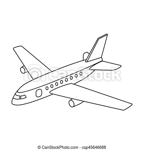 Aircraft for transportation of a large number of people  The safest air  transport Transport single icon in outline style vector symbol stock