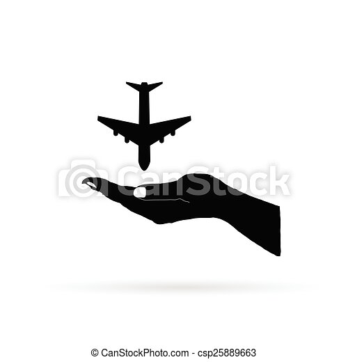 aircraft in hand black vector - csp25889663