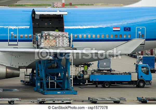 aircraft unloading cargo  - csp1577078