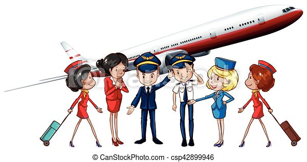 Airline crews and jet plane - csp42899946