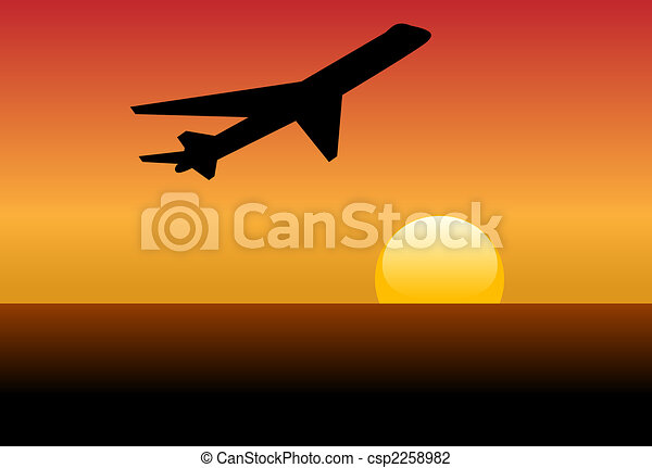 Airline jet silhouette takeoff into sunset or dawn - csp2258982
