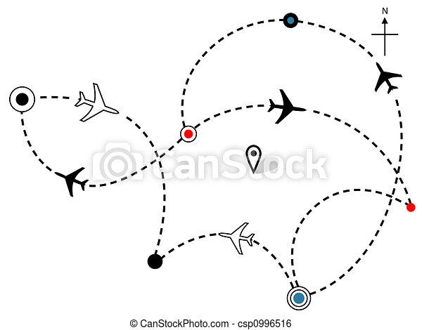 Airline Plane Flight Paths Travel Plans Map