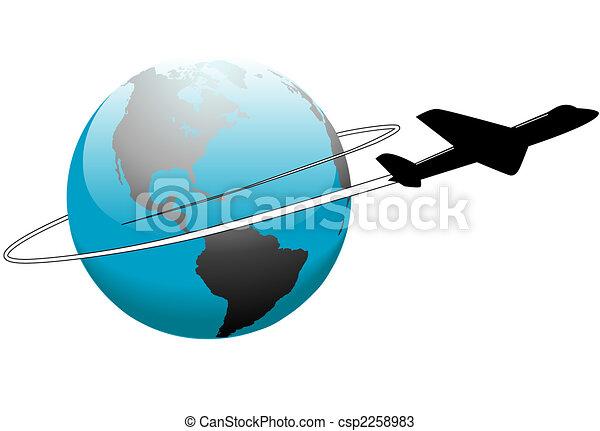 Airline Travel Around the World Earth Airplane - csp2258983
