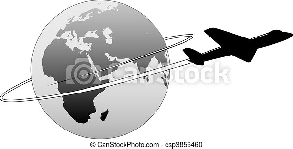 Airline Travel Around the World Earth East Plane - csp3856460