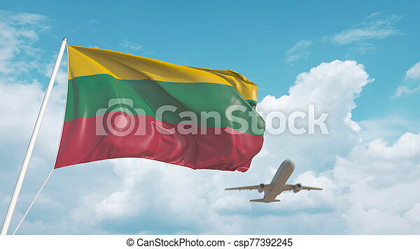 Airliner approaches the Lithuanian flag. Tourism in Lithuania. 3D rendering - csp77392245