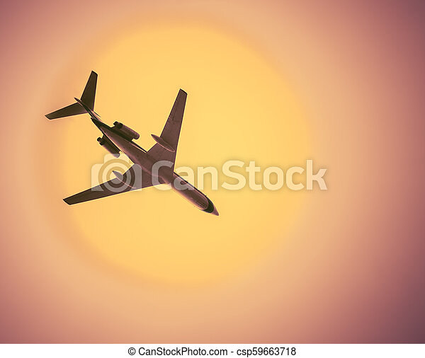 airliner in cloudless hot sky - csp59663718