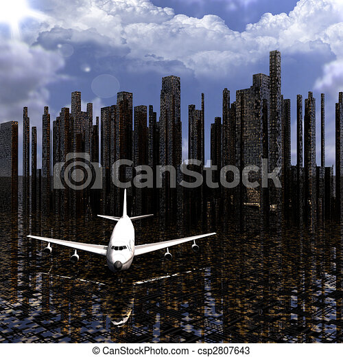 airliner with a city  - csp2807643