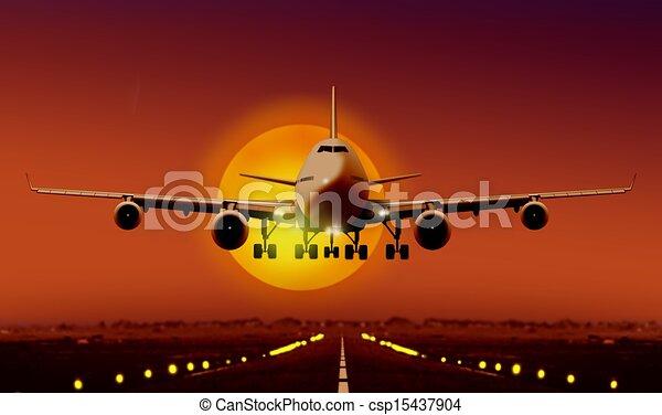 airplan take off during sunrise - csp15437904