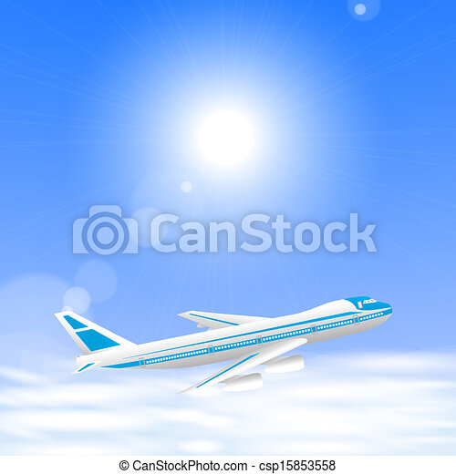 Airplane above the clouds in the blue sky. - csp15853558