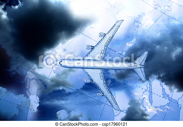 Airplane above the map - csp17960121