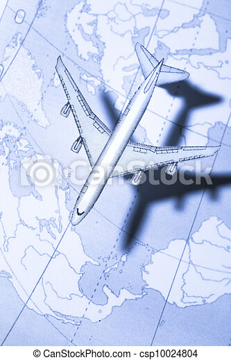 Airplane above the map in blue - csp10024804