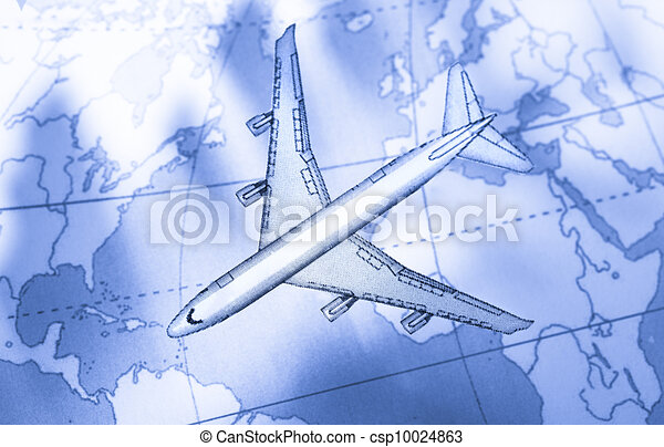 Airplane above the map in blue - csp10024863