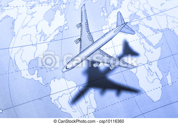Airplane above the map in blue - csp10116360