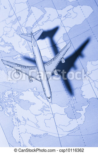 Airplane above the map in blue - csp10116362