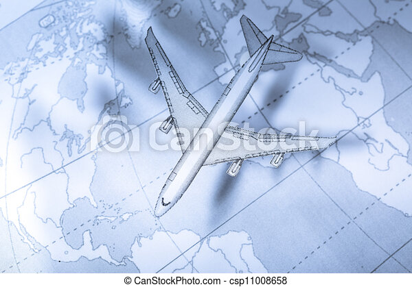 Airplane above the map in blue - csp11008658