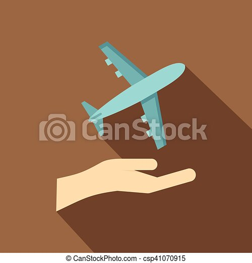Airplane and palm icon, flat style - csp41070915