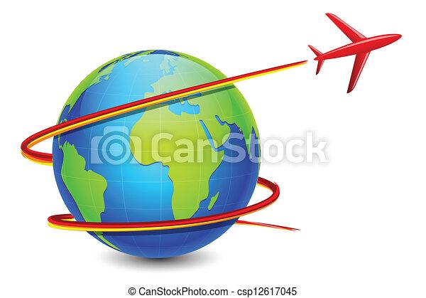 Airplane around Earth - csp12617045
