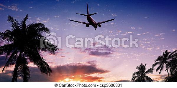 Airplane at sunset - csp3606301