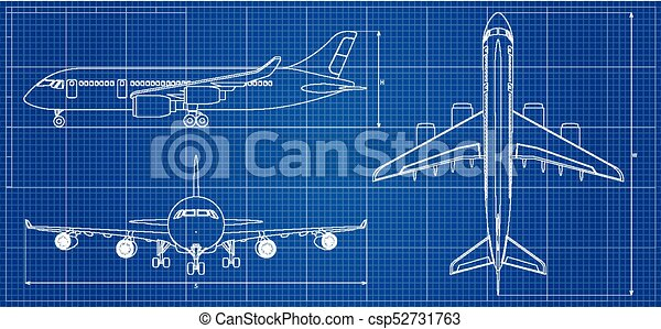 Airplane blueprint outline aircraft on blue background vector airplane blueprint outline aircraft on blue background vector illustration malvernweather Images