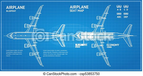 Airplane blueprint plan top view vector airplane blueprint plan airplane blueprint plan top view vector malvernweather Choice Image