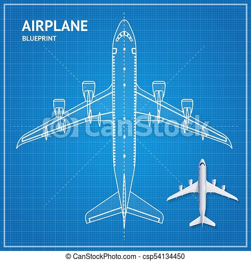 Airplane blueprint plan top view vector airplane blueprint airplane blueprint plan top view vector malvernweather Image collections