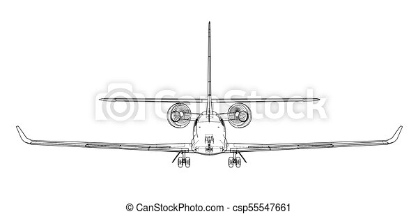Airplane blueprint vector illustration rendering of 3d clip art airplane blueprint vector malvernweather Image collections