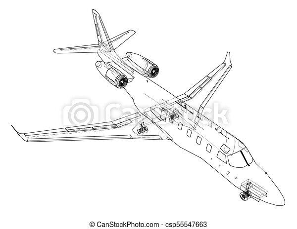 Airplane blueprint vector illustration rendering of 3d airplane blueprint vector malvernweather Choice Image