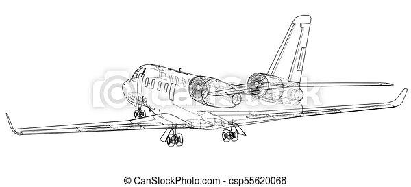 Airplane blueprint vector illustration rendering of 3d clip art airplane blueprint vector malvernweather Images