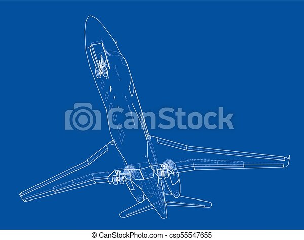 Airplane blueprint vector illustration rendering of 3d clipart airplane blueprint vector malvernweather Image collections