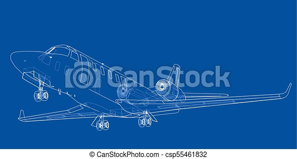 Airplane blueprint vector illustration rendering of 3d airplane blueprint vector malvernweather Image collections