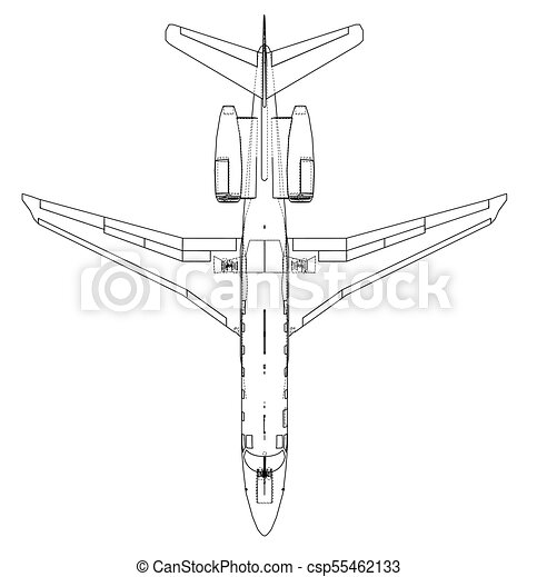 Airplane blueprint vector illustration rendering of 3d vectors airplane blueprint vector malvernweather Image collections