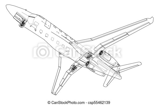 Airplane blueprint vector illustration rendering of 3d vectors airplane blueprint vector malvernweather Choice Image