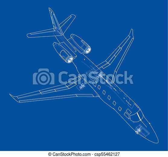 Airplane blueprint vector illustration rendering of 3d vector airplane blueprint vector malvernweather Image collections