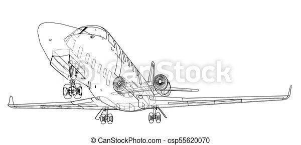 Airplane blueprint vector illustration rendering of 3d vectors airplane blueprint vector malvernweather Images