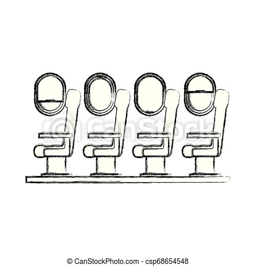 Airplane Chairs With Windows Vector Illustration Design