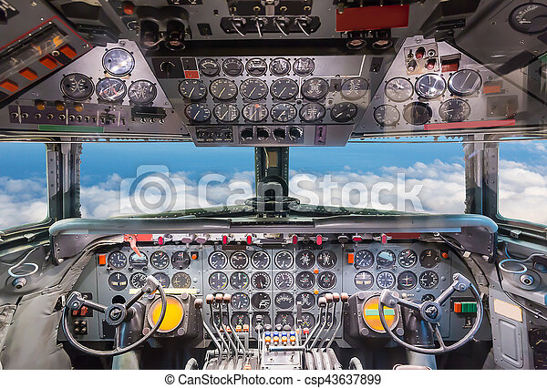 Airplane cockpit view. - csp43637899