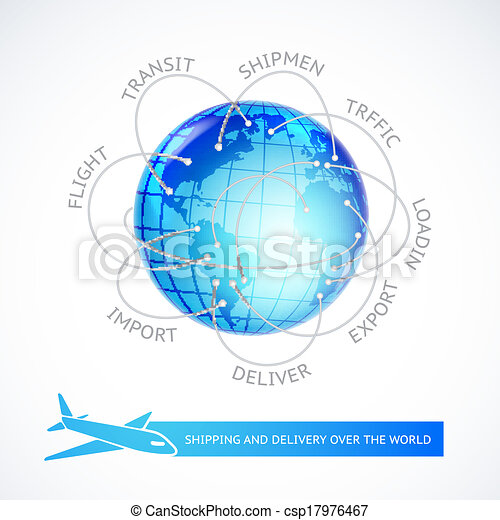 Airplane connections over the world. - csp17976467
