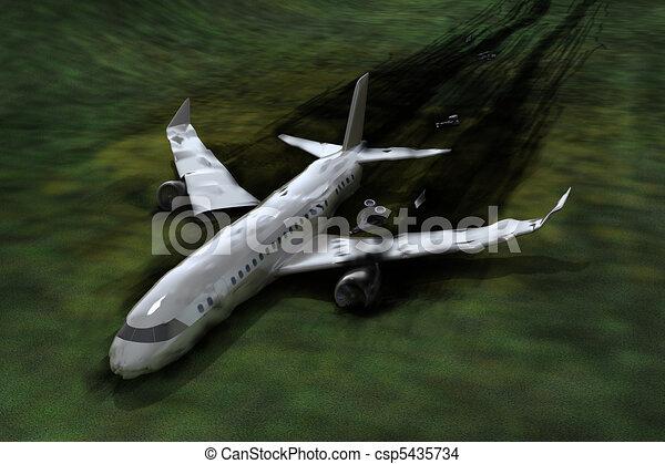Airplane crash, 3d image - csp5435734