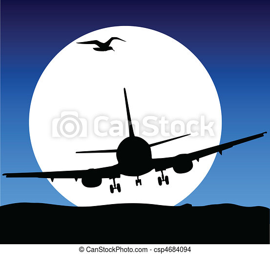 airplane fly on moon illustration - csp4684094