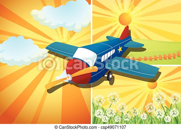 Airplane flying and three different scenes - csp49071107