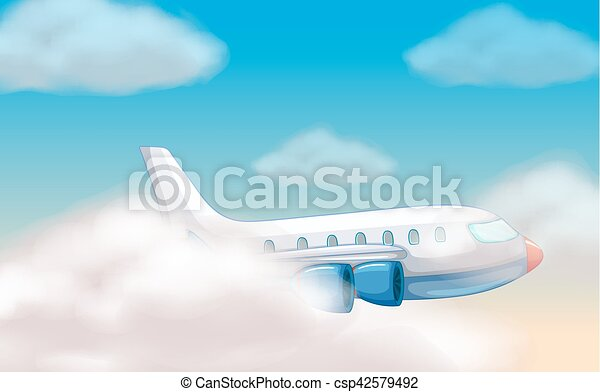 Airplane flying in the blue sky - csp42579492