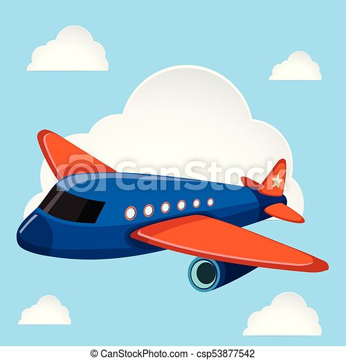 Airplane flying in the blue sky - csp53877542