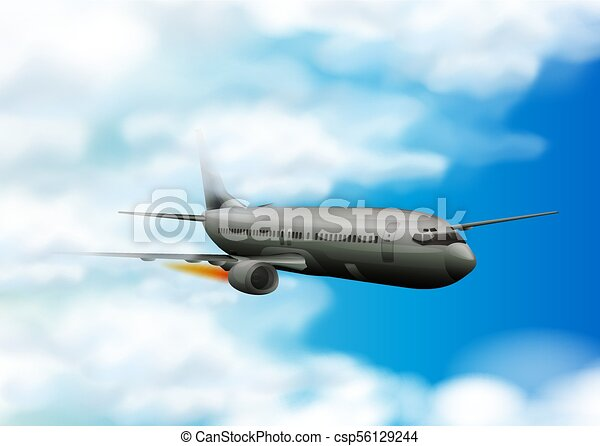 Airplane flying in the blue sky - csp56129244